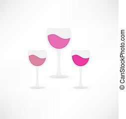 icône, lunettes vin