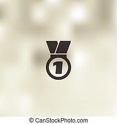 icône, médaille, fond, brouillé