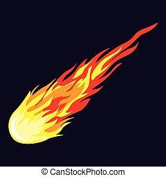 icône, météorite, style, flamme, dessin animé