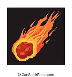 icône, météorite, tomber, style, dessin animé