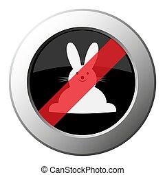 icône, métal, bouton, -, devant, interdiction, lapin, rond, vue