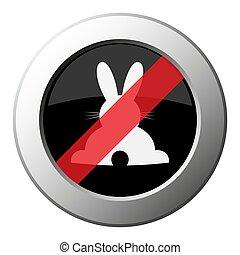 icône, métal, bouton, -, interdiction, lapin, rond, vue postérieure