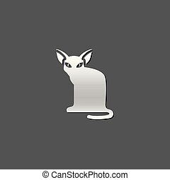 icône, -, métallique, chat
