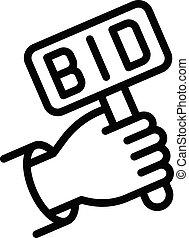 icône, main, bidder, style, contour