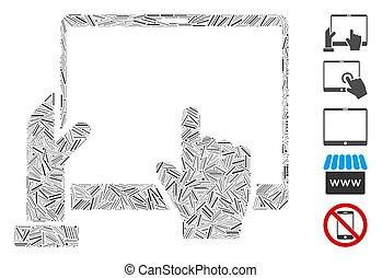 icône, main, points, pda, collage, ligne