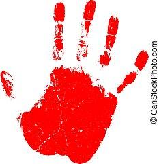 icône, main, vecteur, rouges, impression