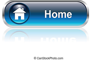 icône, maison, bouton