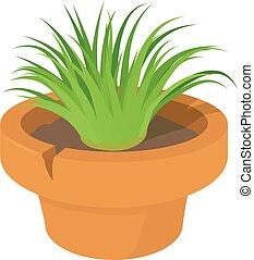 icône, maison, plante, style, dessin animé