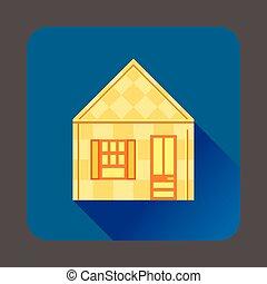 icône, maison, style, jaune, plat