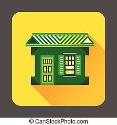 icône, maison, style, vert, plat