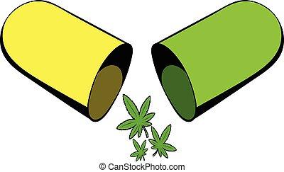icône, marijuana, dessin animé, pilule