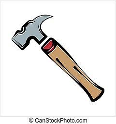 icône, marteau, outillage, conception