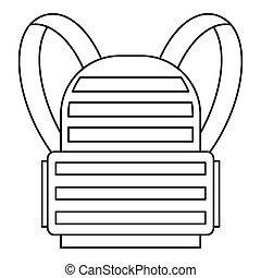 icône, militaire, sac à dos, style, contour