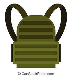 icône, militaire, sac à dos, style, plat