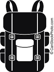icône, militaire, sac à dos, style, simple