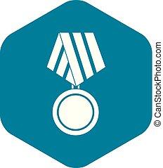 icône, militaire, style, médaille, simple