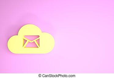 icône, minimalisme, hosting, serveur, courrier, 3d, rose, service., render, boîte lettres, concept., ligne, email., isolé, signe., illustration, arrière-plan., nuage, jaune, message