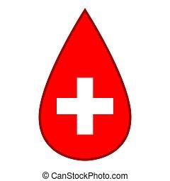 icône, monde médical, virus, croix, dépot sang, santé