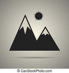 icône, montagne, isolé, illustration