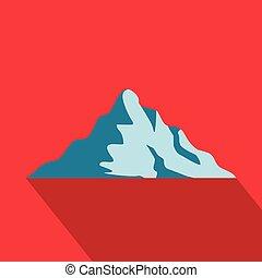 icône, montagne, style., plat, neige
