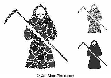 icône, mosaïque, éléments, inégal, scytheman