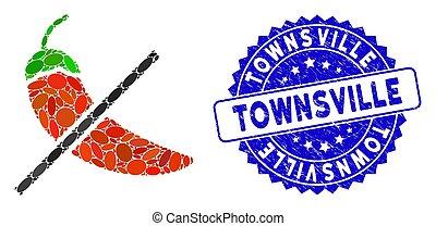 icône, mosaïque, épice, timbre, non, gratté, townsville