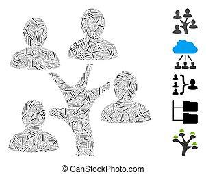 icône, mosaïque, généalogie, trappe, arbre