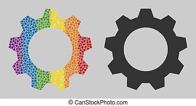 icône, mosaïque, gearwheel, spheric, spectre, points