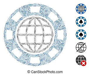 icône, mosaïque, global, puce, casino, ligne