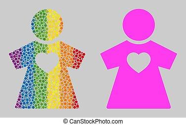 icône, mosaïque, rond, spectre, points, petite amie
