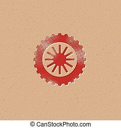 icône, motocyclette, -, pneu, halftone
