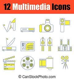 icône, multimédia, ensemble