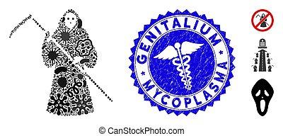 icône, mycoplasma, scytheman, mosaïque, genitalium, cachet, ...