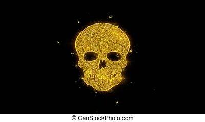 icône, noir, figure, arrière-plan., particules, crâne, étincelles