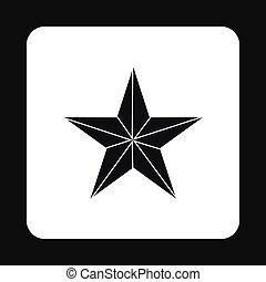 icône, noir, style, étoile, simple
