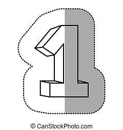 icône, nombre, contour, une