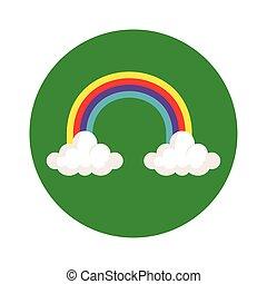 icône, nuages, isolé, cadre, circulaire, arc-en-ciel