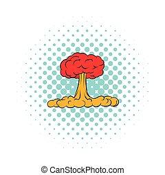 icône, nucléaire, style, explosion, comiques
