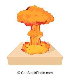 icône, nucléaire, style, explosion, dessin animé