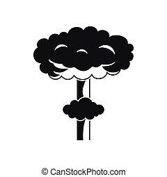 icône, nucléaire, style, explosion, simple