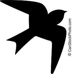 icône, oiseau, vecteur, hirondelle