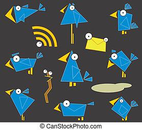 icône, oiseaux bleus