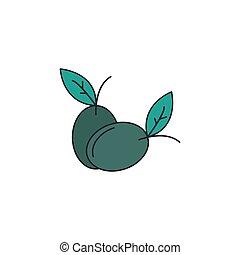 icône, olives, style, dessin animé
