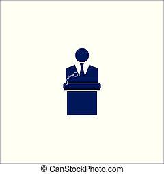 icône, orateur, isolé, symbole., signe