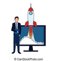 icône ordinateur, homme affaires, fusée