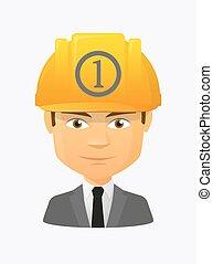 icône, ouvrier, avatar, monnaie