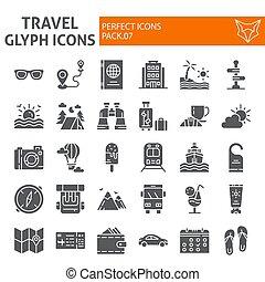 icône, paquet, ensemble, voyage, collection, isolé, croquis, symboles, solide, vecteur, arrière-plan., pictograms, signes, logo, blanc, vacances, tourisme, illustrations, glyph