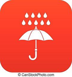 icône, parapluie, rouges, pluie, numérique