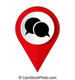 icône, parole, vecteur, bulle, -, illustration, rouges