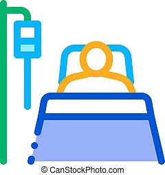 icône, patient, réanimation, contour, illustration, vecteur